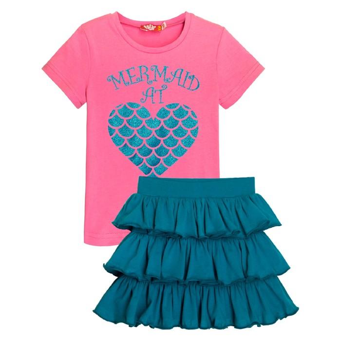 Комплект для девочки, рост 104, цвет розовый/тёмно-бирюзовый