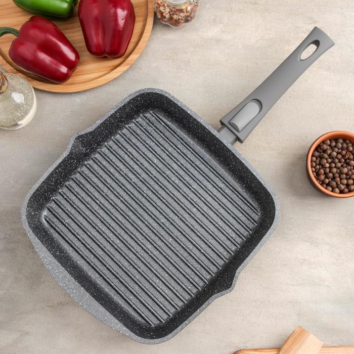 Сковорода-гриль «Гранит», квадратная, 26×26 см, съёмная ручка, антипригарное покрытие - фото 207569