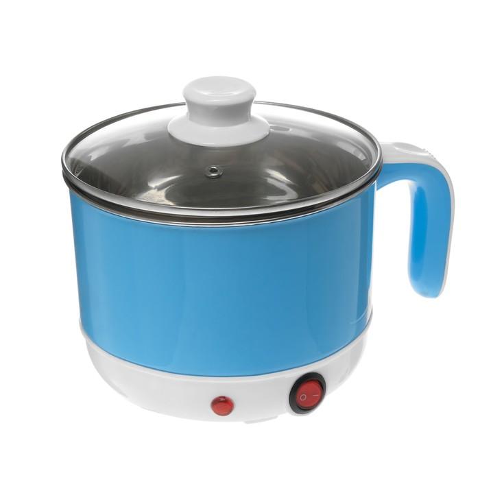 Чайник-кастрюля электрический LuazON LSK-1815, пластик, колба металл, 1.7 л, 400 Вт, голубой