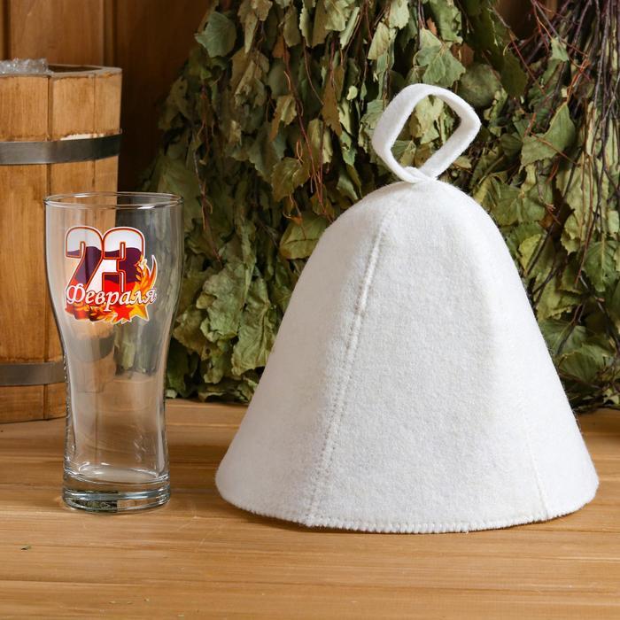 Набор банный бокал + шапка, МИКС