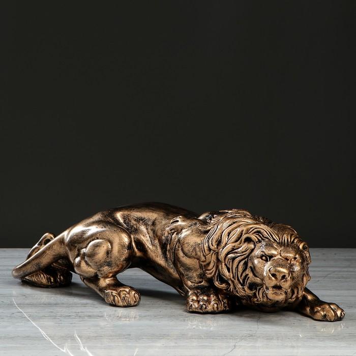 """Статуэтка """"Лев крадущийся"""", бронзовый цвет, 14,5 см"""
