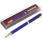 Ручка шариковая, подарочная, в пластиковом футляре, поворотная, «Эксперт», синяя с золотистыми вставками