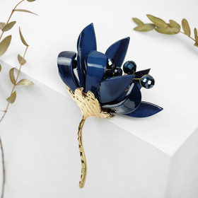 Brooch Flower Bud, the color blue in gold