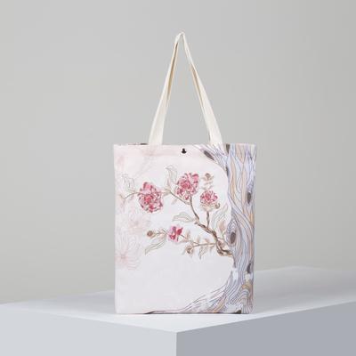 Bag textile Flowers 34*3*37, otd on the magnet, no padding. white