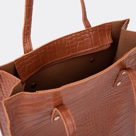 Сумка женская, отдел на молнии, цвет коричневый - фото 50551