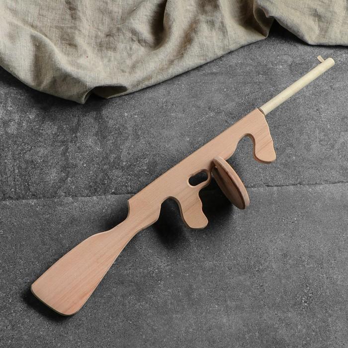 """Сувенирное деревянное оружие """"Автомат Томсон"""", 70 см, массив бука - фото 105640907"""