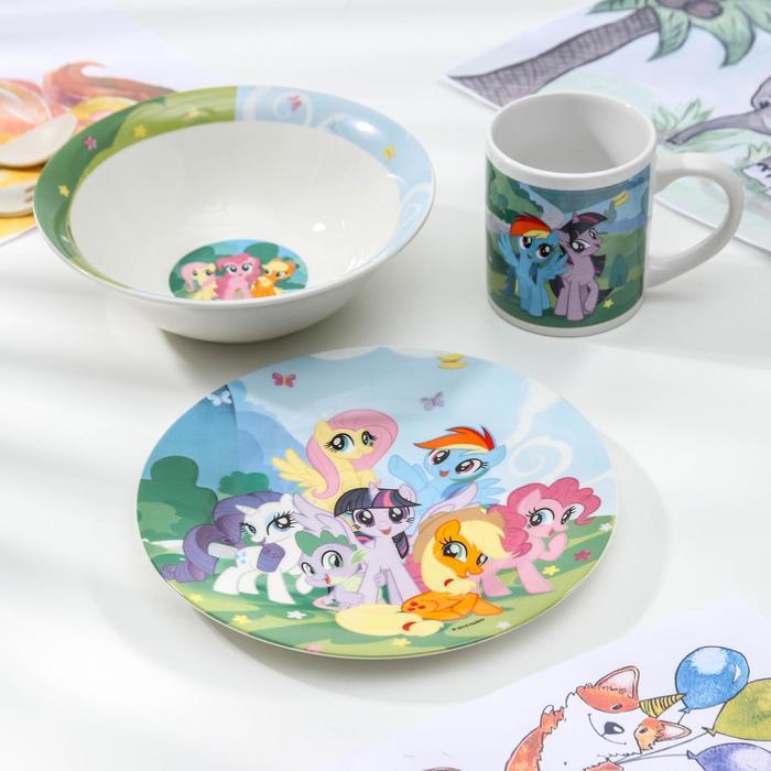 Набор посуды Hasbro My Little Pony, 3 предмета: кружка 240 мл, миска 18 см, тарелка 19 см - фото 487337