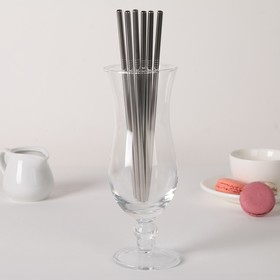 "Set of tubes ""Straws"" 6pcs. steel 304, 21 cm"