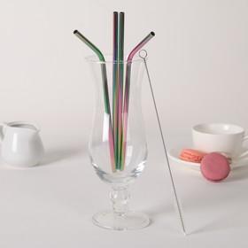 Набор трубочек с ёршиком 4 шт Color, 21 см