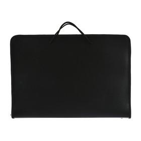 Папка А3 с ручками пластиковая, молния сверху, жёсткое дно, 460 х 325 х 50 мм, «Офис», ПМ-А3-36, чёрная