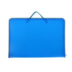 Папка А3 с ручками пластиковая, молния сверху, жёсткое дно, 470 х 335 х 50 мм, «Офис», ПМ-А3-36, синяя