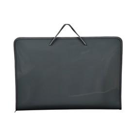 Папка для черчения и рисунков А3, с ручками пластиковая, молния сверху, жёсткое дно, 460 х 325 х 50 мм, «Офис», ПМ-А3-36, серая