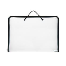 Папка А3 с ручками пластиковая, молния сверху, жёсткое дно, 470 х 335 х 50 мм, «Офис», ПМ-А3-36, прозрачная, чёрная