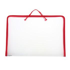 Папка А3 с ручками пластиковая, молния сверху, жёсткое дно, 460 х 325 х 50 мм, «Офис», ПМ-А3-36, прозрачная, красная
