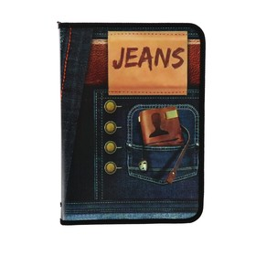 Папка для тетрадей А4, молния вокруг, пластиковая, ПМ-А4-04, Jeans