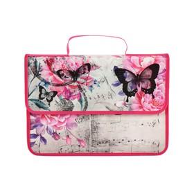 Папка-портфель на липучке, пластиковая, А4, 330 х 240 х 90, для девочки, ПМ-А4-23, «Розовые бабочки»