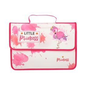 Папка-портфель на липучке, пластиковая, А4, 330 х 240 х 90, для девочки, ПМ-А4-23, «Маленький фламинго»