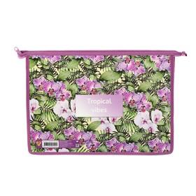 Папка для тетрадей А4, молния сверху, пластиковая/ламинированный картон, ПМ-А4-291, «Тропические орхидеи»