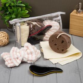 Набор для бани и сауны в косметичке, цв. коричневый, 4 предмета
