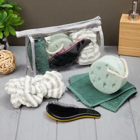 Набор для бани и сауны в косметичке, цв. зеленый, 4 предмета