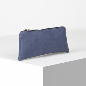 Cosmetic bag simple KZC, 20 * 2 * 8, separate with a zipper, blue