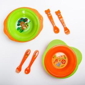 Набор детской посуды: тарелка на присоске 250мл, вилка, ложка, цвет зеленый/оранжевый МИКС