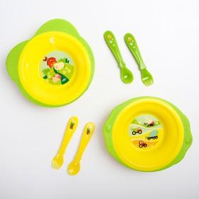 Набор детской посуды: тарелка на присоске 250мл, вилка, ложка, цвет желтый/зеленый МИКС