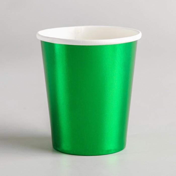 Стакан бумажный, набор 6 шт., цвет зелёный
