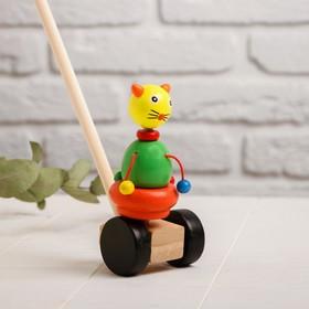 Детская каталка на палочке «Зверята с бусинками» 8×16×50, МИКС
