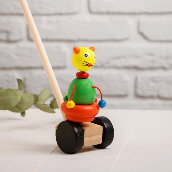 Детская каталка на палочке «Зверята с бусинками» 8×16×50, МИКС - фото 76255561