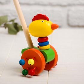 Детская каталка на палочке «Животные с бусинками на колёсах» 9×14×50, МИКС в Донецке