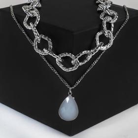"""Кулон """"Цепь"""" кольца, цвет белый в серебре, 50см"""