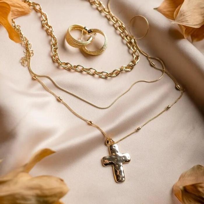 """Кулон """"Цепь"""" крест объёмный цвет золото, 50см"""