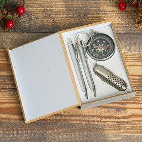 4in1 gift set in wooden box: 2 handles, key chain-compass, knife 3in1, black