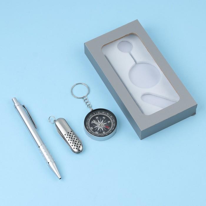 Подарочный набор, 3 предмета в коробке: ручка, брелок-компаск, нож