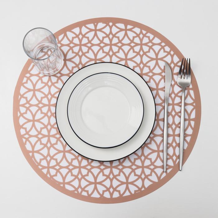 Салфетка кухонная «Шарм», 38×38 см, цвет металлик коричневый - фото 487528