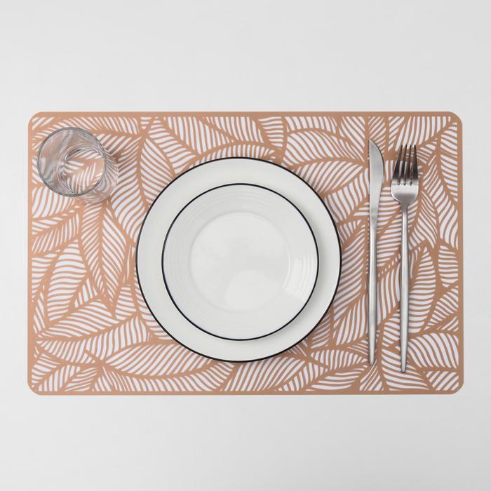 Салфетка кухонная «Листья», 43×28 см, цвет металлик коричневый - фото 487534