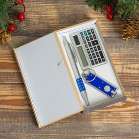 Набор подарочный 3в1 (ручка, калькулятор, фонарик синий) в Донецке