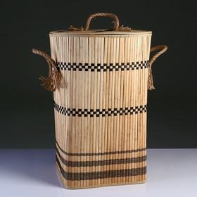 Корзина для белья с крышкой складная с ручками 39х39 см Н 56 см, бамбук,джут
