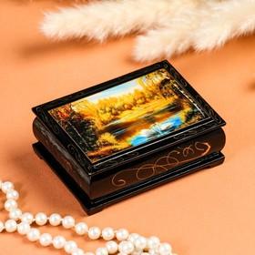 Шкатулка «Лебеди», 8×10 см, лаковая миниатюра