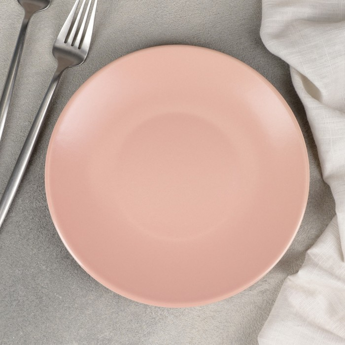 Тарелка десертная «Эджи», 20 см, цвет розовый