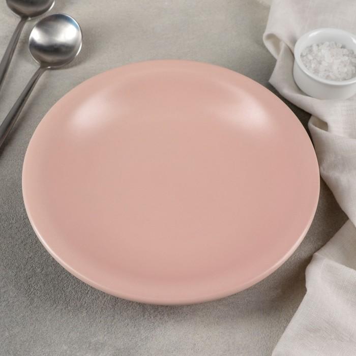 Тарелка глубокая «Эджи», 450 мл, 22 см, цвет розовый