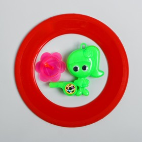 Набор игровой, 2 предмета: летающий обод, свисток с волчком, цвета МИКС