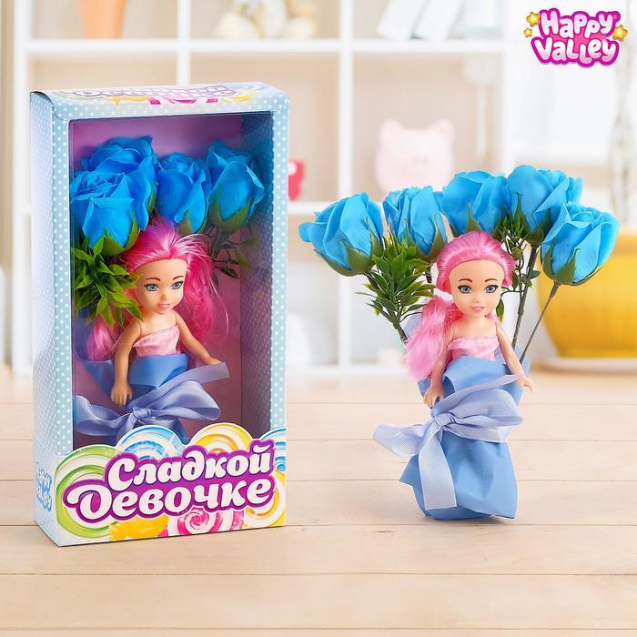 Подарочный набор для девочек «Сладкой девочке», цветы из мыла + кукла, МИКС