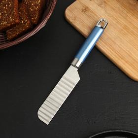 Нож для фигурной нарезки Доляна Lagoona, 25 см, нержавеющая сталь, цвет голубой металлик