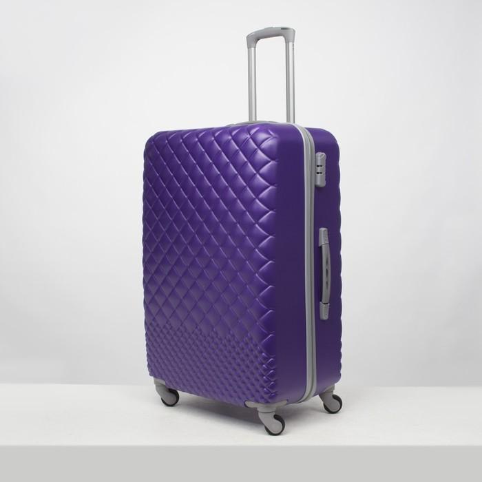 """Чемодан большой 28"""", отдел на молнии, кодовый замок, 4 колеса, цвет фиолетовый - фото 649865"""