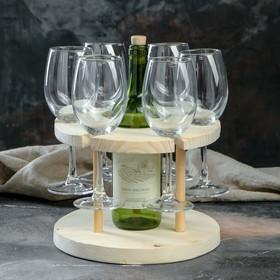 Подставка для вина, 6 бокалов, массив ясеня, 1 сорт