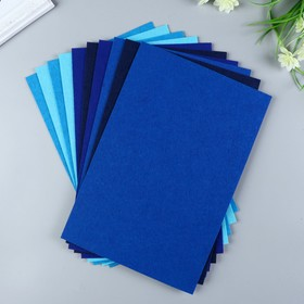 A set of felt pads (hard) 1 mm 20x30 cm 10 sheets CV. blue assorted