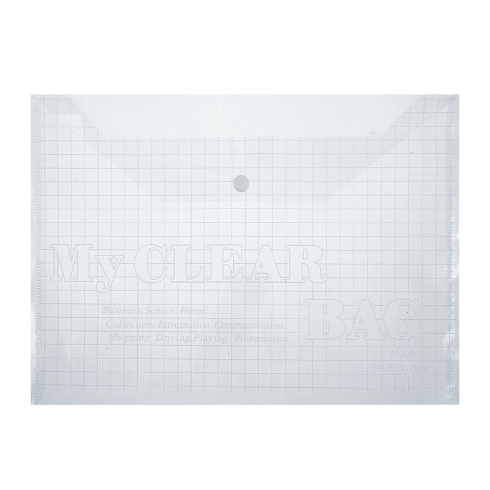 Папка-конверт на кнопке формат А4 80мкр Клетка прозрачная
