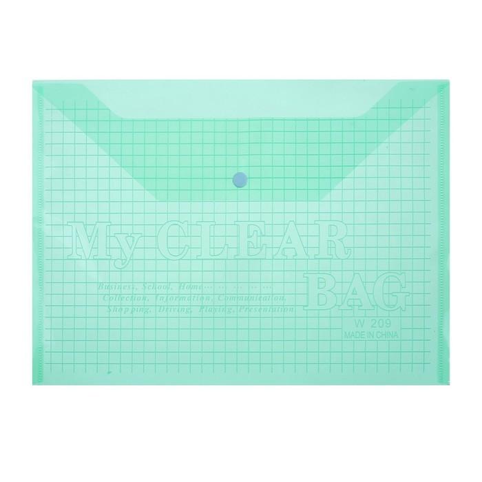 Папка-конверт на кнопке формат А4 80мкр Клетка тонированная зеленая